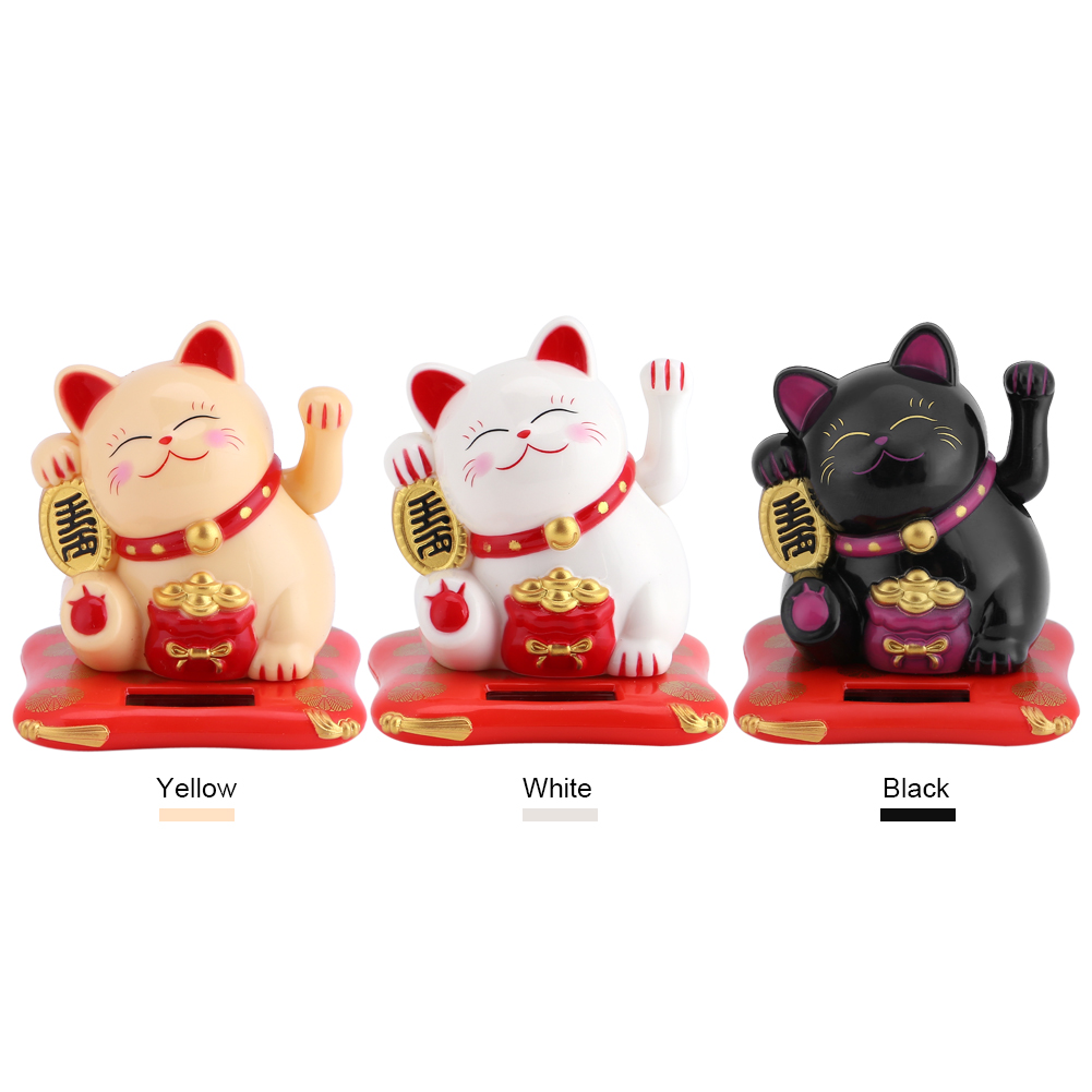 Tbest Solar Powered Cute Waving Cat Good Luck Wealth Welcoming Cats Home Display Car Decor, Welcoming Cat,Waving Cat