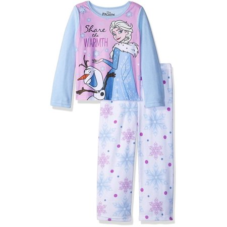 Disney Girls' Frozen Elsa 2-Piece Fleece Pajama Set, Winter Warmth, Size: 6