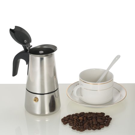 100ml 2-Cup Stainless Steel Espresso Percolator Coffee Stovetop Maker Mocha Pot for Use on Induction