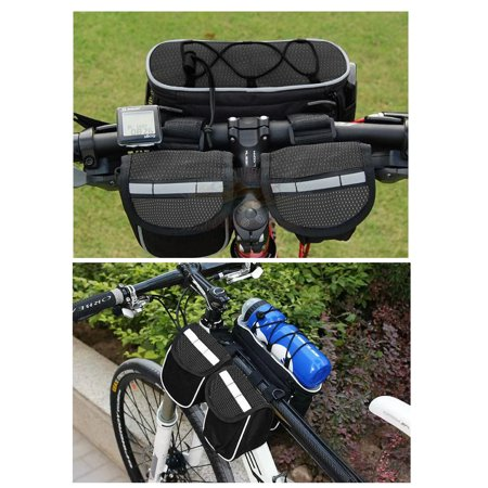 TrendBox Mutifunctions 4 in 1 Bike Bicycle Cycling Front Frame Tube Saddle Bag Pannier Storage Lightweight Pouch Two side-pockets Rainproof Black