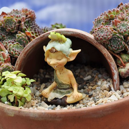 Miniature Pixie Meditating with Frog for Miniature Garden, Fairy Garden