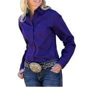 Cinch Western Shirt Womens L/S Poplin Necktape Purple MSW9164012