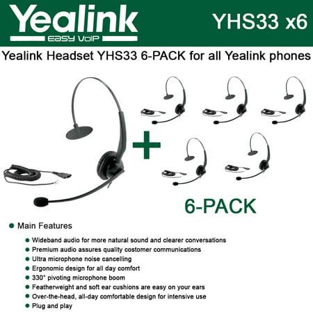 Yealink YHS33 6-PACK Wideband Headset for Yealink IP Phones, plug and play (Ip Phone Headset)