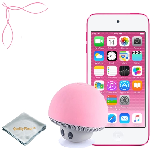 Apple iPod touch Pink 16GB (6th Generation) - Mushroom Bluetooth Wireless Speaker/Ipod Stand - Quality Photo cloth