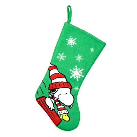 peanuts 20 inch christmas peanuts snoopy stocking green snoopy - Snoopy Christmas Stocking