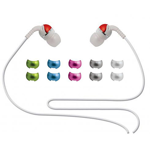 Scosche Stereo Earphones with 6 interchangeable Color Caps - White