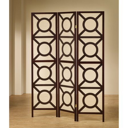 - Coaster Company 3 Circle Pattern Folding Screen, Cappuccino finish