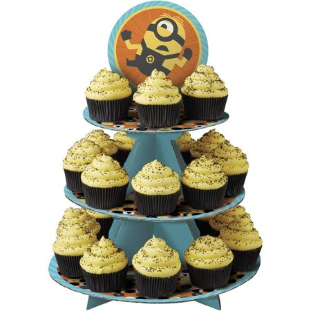 1512-7112 Despicable Me 3 Minions Cupcake Stand Assorted, Three-tiered cupcake stand featuring Minions from Despicable me 3 By Wilton - Cupcake Minions