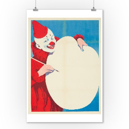 Painting Clown Vintage Poster Germany c. 1909 (9x12 Art Print, Wall Decor Travel Poster) (Evil Clown Paintings)
