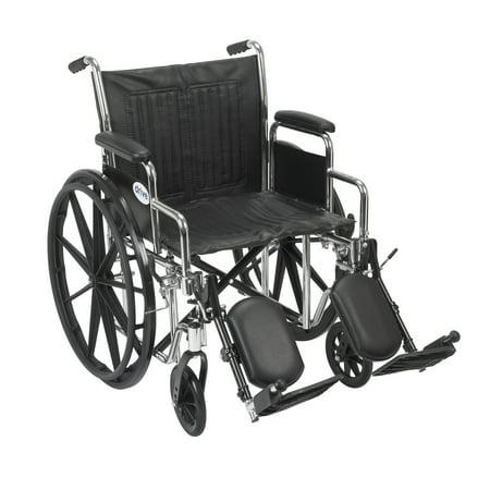 Drive Medical Chrome Sport Wheelchair  Detachable Desk Arms  Elevating Leg Rests  20   Seat