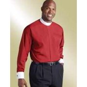 Clerical Shirt-Long Sleeve Banded Collar & French Cuff-16.5x34/35-Red