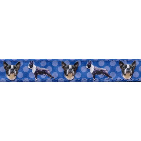 Country Brook Design® 1 Inch Boston Terrier Ribbon Double Sided Dog Leash - 6 Foot