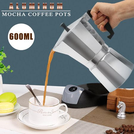 US 600ML 12 Cup Coffee Moka Pot Stove Percolator Maker Top Expresso Latte