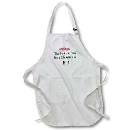 3dRose The best vitamin for a Christian is B-1. - Full Length Apron, 24 by 30-inch, White, With Pockets