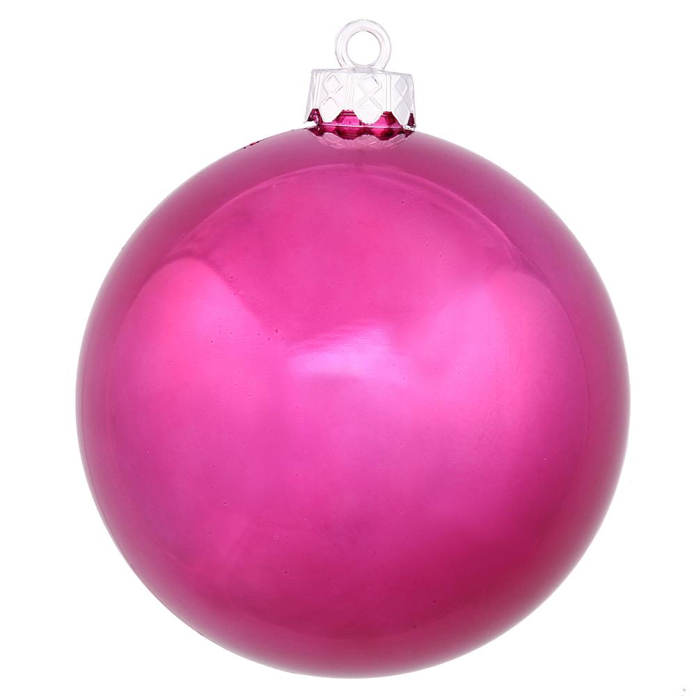 "3ct Magenta Purple UV Shatterproof Shiny Finish Christmas Ball Ornaments 4.75"" (120mm)"