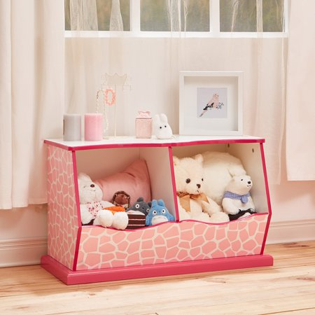 Teamson Kids - Fashion Giraffe Prints Miranda Cubby Storage - Pink / White Giraffe Print Fashion