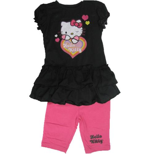 Hello Kitty Little Girls Black Pink Ruffle Short Sleeved 2 Pc Capri Set 4-6X