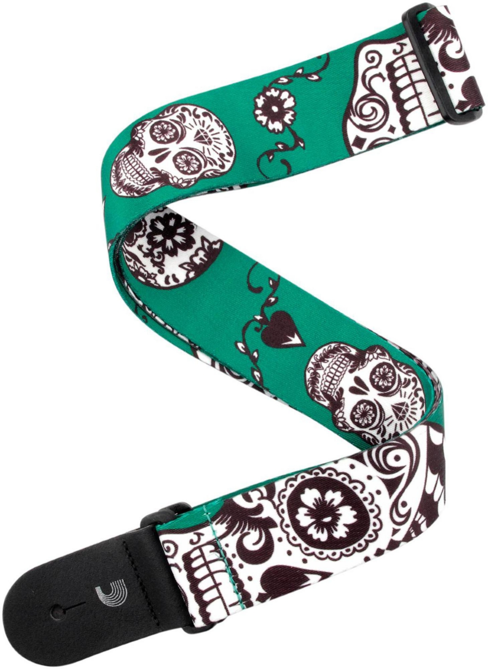 """D'Addario Planet Waves 2"""" Polyester Guitar Strap, Sugar Skulls, by D'Addario Green by D'Addario Planet Waves"""