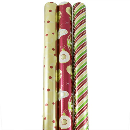 JAM Paper Wrapping Paper, Premium Foil Gift Wrap, 75 Sq Ft, Christmastime Set, 3/Pack