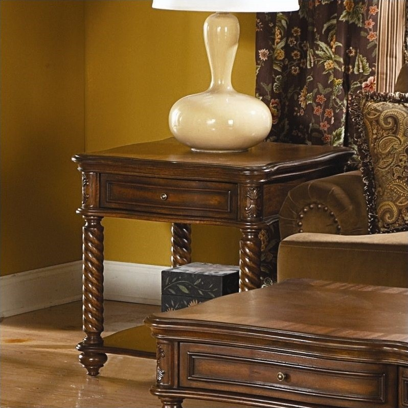 Trent Home Trammel End Table in Brown Mahogany