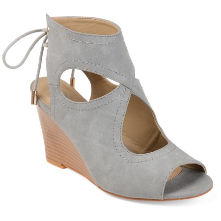Womens Faux Leather Open-toe Center-cut Wedges