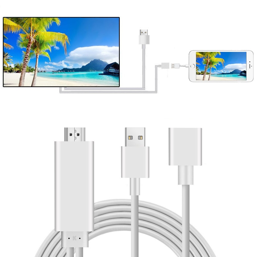3 in 1 Lighting/Micro USB/Type-C to HDMI Cable, Mirror Mobile Phone Screen to TV/Projector/Monitor, 1080P HDTV Adapter for iOS and Android Devices, I4577