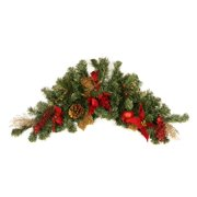 """36"""" Pre-Decorated Pine, Red Poinsettia, Eucalyptus and Gold Pine Cone Artificial Christmas Swag - Unlit"""