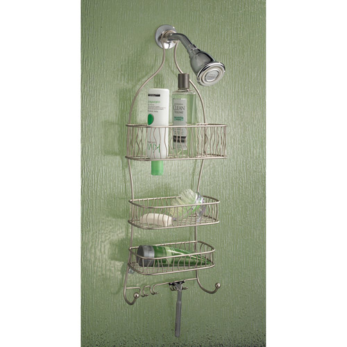 InterDesign Squiggle Bathroom Shower Caddy for Shampoo, Conditioner, Soap, Satin