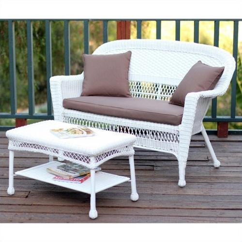 Jeco Wicker Patio Love Seat and Coffee Table Set in White with Brown Cushion