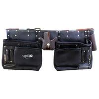 Calmax Top Grain Oiled 11-Pocket Leather Tool Belt, 2 Hammer Holders