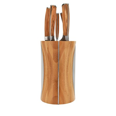 La Cote 5 Piece Chef Knives Set Japanese Stainless Steel Wood Handle with Block (Rustic Series Olive Wood) (Japanese Wood)