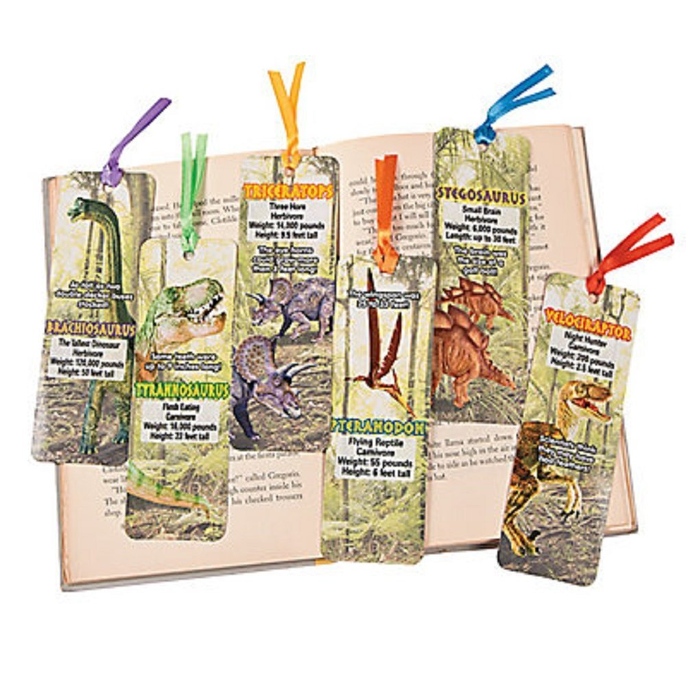 """48 ~ Dinosaur Bookmarks ~ 2"""" x 6"""" Laminated cardstock with satin ribbon ~ New, 48 ~ Dinosaur Bookmarks ~ New in sealed package. By FXOT,USA"""