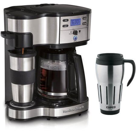 Coffee Maker That Fits Travel Mug : Two Way Brewer Single Serve and 12 cup Coffee Maker w/ Thermal Travel Mug Bundle - Walmart.com
