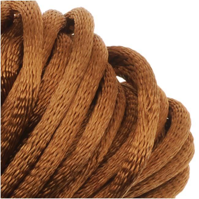 Rayon Satin Rattail 2mm Cord - Knot & Braid - Dark Tan Brown (6 Yards)