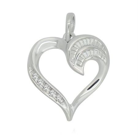 011 ct round baguette shape white natural diamond sterling silver 011 ct round baguette shape white natural diamond sterling silver heart promise pendant aloadofball Choice Image
