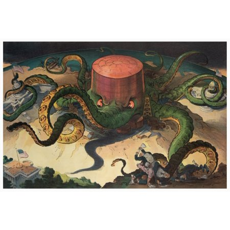 Illustration shows a storage tank as an octopus with many tentacles wrapped around the steel copper and shipping industries as well as a state house the US Capitol and one -