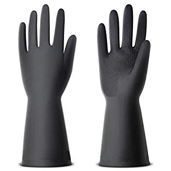 Jewboer 2 Pairs 14' Chemical Resistant Gloves Industrial Gardening Natural Rubber Latex Gloves,Resistant to Chemicals,Abrasions,Cuts,Tear and Puncture Abrasion Resistant Rubber