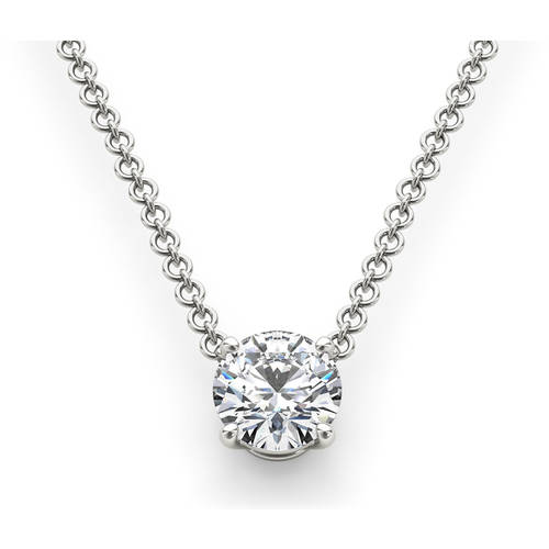 1 Carat T.W. Diamond Solitaire 14kt White Gold Necklace (I1)