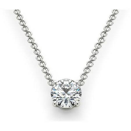 - 1 Carat T.W. Diamond Solitaire 14kt White Gold Necklace (I1)