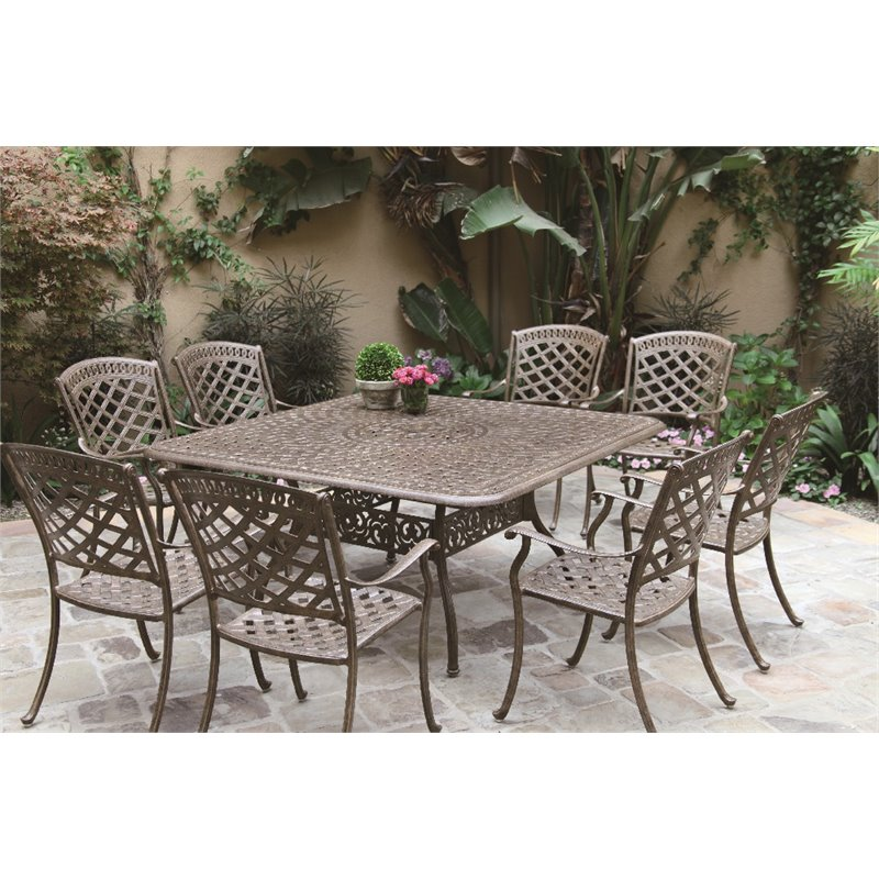 "Darlee Sedona 9 Piece 60"" Square Patio Dining Set with Seat Cushion"
