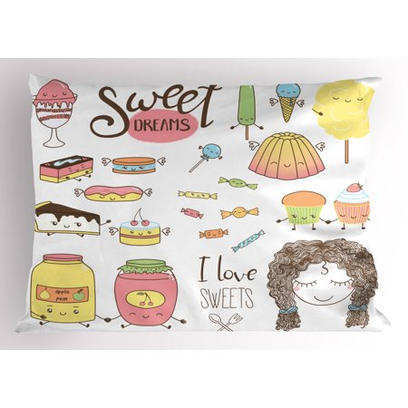 Sweet Dreams Pillow Sham Teen Girl Dreaming About Sweets Food Doodle Characters Kawaii Cartoon Faces, Decorative Standard Queen Size Printed Pillowcase, 30 X 20 Inches, Multicolor, by Ambesonne for $<!---->