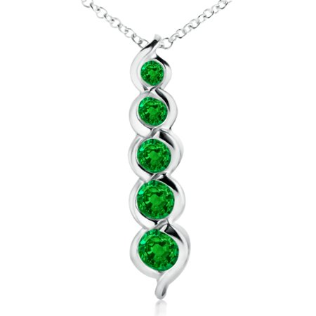 f425566a9efb86 Angara - Mother's Day Jewelry - Five Stone Round Emerald Journey Pendant in 14K  White Gold (3.6mm Emerald) - SP0135E-WG-AAAA-3.6 - Walmart.com