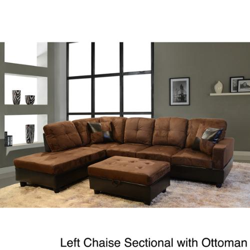 Delima 3 piece Microsuede Sectional Set Left Chaise Sectional with Ottoman Walmart