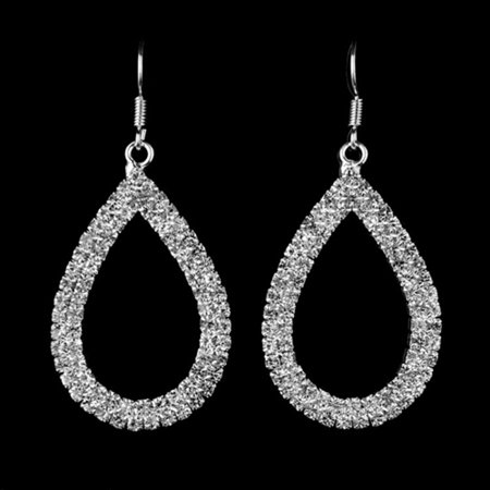 Quality Crystal Earrings Teardrop Silver Tone Anti-Tarnish Rhinestone Crystal J-56