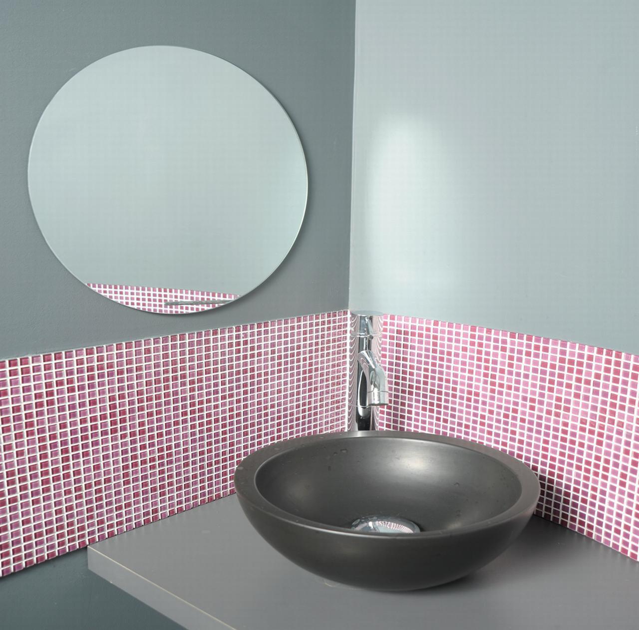 "Decorative Wall Bathroom Self Adhesive Round Mirror Diameter 15.7"" by Evideco"