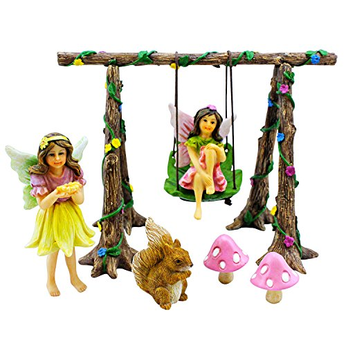 Pretmanns Miniature Fairy Garden Swing Set Accessories Kit With