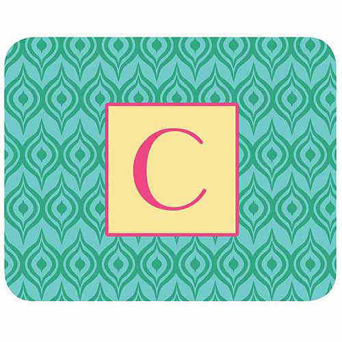 Personalized Green Ikat Mouse Pad