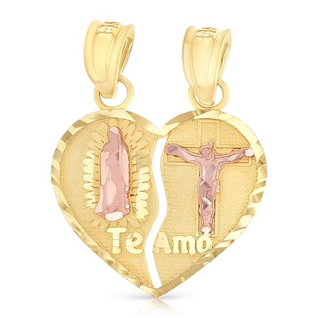 - 14K Two Tone Gold Religious Our Lady of Guadalupe Jesus Broken Heart Te Amo Charm Pendant For Necklace or Chain