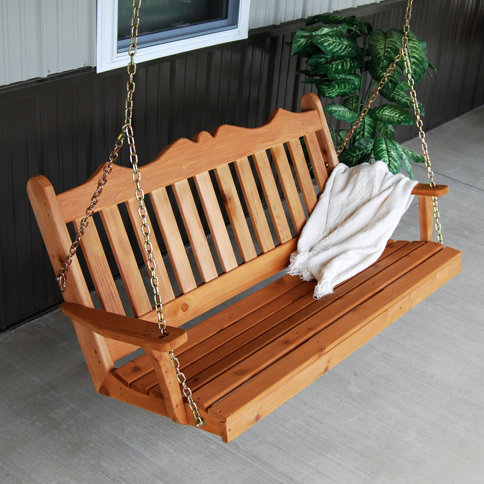 A & L Furniture Western Red Cedar Royal English Porch Swing