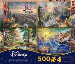 Thomas Kinkade Disney Dreams 4-in-1 Jigsaw Puzzle Multi-Pack Series 3, 4 x 500pc by Ceaco